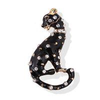 óleo da pintura do leopardo venda por atacado-12 pçs / lote Atacado Cristal Incrustado Leopardo Broches Moda Gotejamento Óleo Pintado Leopard Costume Pin Broche Pingente de Presente Da Jóia