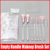 косметические пакеты для косметики clear оптовых-Кисти для макияжа 7шт с Empty Clear Handle Портативный и Блеск с Cosmetic Bag Over DIY Brushes Set