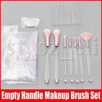 kits de maquillaje brillo al por mayor-Cepillos del maquillaje 7pcs con el claro vacío manija portable y del brillo con el bolso cosmético del sistema de cepillos largo de bricolaje