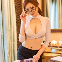 disfraz de mujer de oficina al por mayor-Mujeres sexy secretaria traje uniforme lencería top mini falda conjunto trajes eróticos Office Lady Cosplay