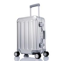 alüminyum taşıma toptan satış-100% Metal Bagaj Alüminyum Alaşım Taşıma-Haddeleme Bagaj Bavul Bavul Yüksek Mukavemetli Çanta TSA Kilidini Gümüş 20 Inç