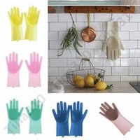 Wholesale latex bedding resale online - 2pcs pair Magic Silicone Dish Washing Gloves Eco Friendly Scrubber Cleaning For Multipurpose Kitchen Bed Bathroom Hair Care pair T1I1570