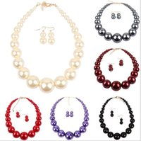 ingrosso grandi orecchini della collana della perla impostati-New Hyperbole Geometric Collana di perline Orecchini Fashion Simple Choker Big Pearl Set di gioielli per le donne Collares Grandes