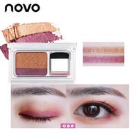 pinceles de maquillaje coreano al por mayor-Lazy Eyeshadow Korean Style Cosmetics Matte Shimmer Eye Shadow Stamp Palette Con Brush Nude Makeup Set