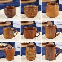 ingrosso accessori da cucina in legno-Commercio all'ingrosso di New Retro stile cinese fatti a mano in legno naturale tazza di tè in legno casa creativa tazze di caffè bicchieri da cucina accessori