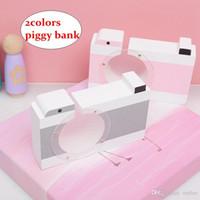 banka para kasası toptan satış-Çocuk Kamera Kumbara Sevimli Ahşap Para Para Kutusu Ev Dekorasyonu Çocuklar doğum günü hediyesi Pembe Gri