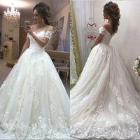 Wholesale lace detail wedding dresses online - New Arrival Luxurious Ball Gown Wedding Dresses Off Shoulder Cap Sleeves Lace Appliques Sweep Train Plus Size Bridal Gowns