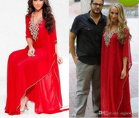 Wholesale new abaya dresses prom for sale - Group buy 2019 New Red Arabic Style Evening Dresses Middle East V Neck Dubai Beaded Long Sleeve Abaya Muslim Formal Prom Gowns Plus Size Party Dresses
