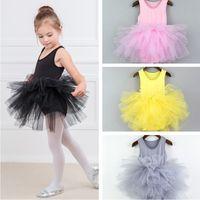 vêtements de danse de ballet bébé achat en gros de-Jolies filles dentelle Dancewear Danse Jupes Enfants Performance Vêtements enfants Ballet Jupe Dentelle Tulle Robe Bébé Sunmmer Sling Robe TTA684