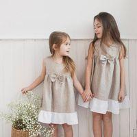 Wholesale vintage dressess for sale - Group buy INS Summerl Girl Kids Clothing Dress Vintage Sleeveless Round Collar Solid Color Bow Design Elegant Dressess