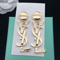 brincos de envio venda por atacado-Nova Marca Designer Stud Brincos De Luxo YS Letras Ear Stud Brinco Jóias de ouro de prata de ouro Mulheres Presente de Casamento Frete Grátis