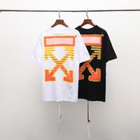camisas amarelas para moda masculina venda por atacado-Nova marca asiática de moda designer de verão dos homens T-shirt de algodão verão alerta skate preto amarelo hip-hop rua desgaste atacado de alta qualidade