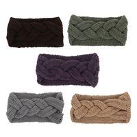 ingrosso avvolgimenti a mano fatti a mano-7 ColoriAbito Invernale Solido Grande Turbante Testa Wrap Big Knit Wool Headband Girl Warm Woolen Crochet Handmade Bow Knot