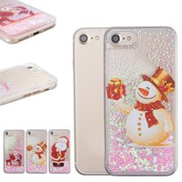 Wholesale santa claus glitter online - Glitter Christmas Quicksand Back Cover Snowflake Cute Santa Claus Snowman Elk Gift Clear Case for iPhone XR XS with OPP Bag