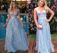 falda larga de organza al por mayor-Azul pálido Encaje 3D Cariño Una línea Vestidos de baile elegantes 2020 Falda de tul de hadas de cuerpo entero Vestidos de fiesta de noche para ocasiones jóvenes