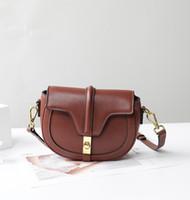 Wholesale saddle color resale online - Elegant2019 Bag Leather Genuine Single Shoulder Small Black Texture Summer Slanting Satchel Lock Catch Saddle Package