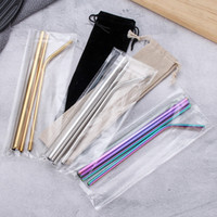 Wholesale giveaways sets resale online - Stainless Steel Straw Set Titanium plated Colored Metal Color Straight Pipe Bend Drink Giveaway Straw Customization EEA1249