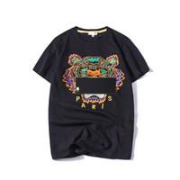 mens cool casual gömlekler toptan satış-Mens T Shirt 2019 Bahar Yeni Marka Tasarımcısı Kısa Kollu Moda Kaplan Kafası Nakış Rahat Baskı Sokak Serin Tees S-2X Tops
