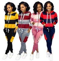 ingrosso vestiti da jogging-Le donne più il formato 2 pezzi set funzionamento di ginnastica pantaloni da jogging maglietta tuta con cappuccio leggings abiti autunno inverno abbigliamento outwear la tuta