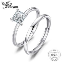 Wholesale 5.25 cluster rings resale online - 25 sterling silver jewelry JewelryPalace Princess Cut ct Cubic Zirconia Wedding Band Solitaire Engagement Ring Bridal Sets Sterlin