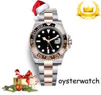 relógios mens venda por atacado-Big sales Promotion Relógio De Luxo De Natal Da Marca Relógio Automático De Aço Inoxidável Cinta Mostrador Preto Mens Relógios Agradáveis Rose Prata