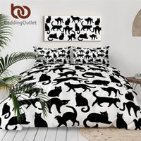 Wholesale cute black white bedding resale online - BeddingOutlet Black Cats Bedding Set Cute Cartoon Bed Set King Bright Eyes Duvet Cover Animal Black and White Bedclothes