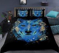 literie à motif bleu achat en gros de-Blue Wolf Literie Boho plume soleil housse de couette motif floral housse de couette textiles de maison Ensemble de literie noir 3 pièces