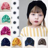 sombreros recién nacidos gorras al por mayor-Niños Niño Niña Sombrero Bebé Recién Nacido Gorra de Cobertura Terciopelo Dorado Indio Musulmán Sombrero Arco Cúpula Sólida 6