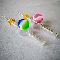 Wholesale glass nail quartz nector resale online - 14mm mm Joint NC Kit Glass Pipe Nector Collector With Quartz Nail Keck Clip Silicone Dab Wax Oil Container Smoking Small Bong Hand Pipe