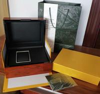 gelber papierkarton großhandel-Luxus Uhrenbox Upgrade-Version Original Box Papiere Geschenk Holzkiste Gelb 15400ST 26331ST Herrenuhren Uhr Armbanduhr-Boxen