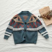 chaquetas infantiles de punto al por mayor-Niños niñas suéter estilo de Inglaterra Cardigan para bebés niños primavera otoño cálido de punto chaqueta niños abrigo de punto