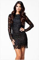 Wholesale plus sized summer clothing online - vestido Black Lace Dress Long Sleeve Maxi Dresses Backless Sexy Club Red Plus Size Women Clothing S XL