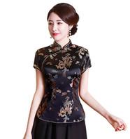 chemise en soie chinoise traditionnelle achat en gros de-Fausse soie / satin de Chine en dragon et phénix chemisier chinois Qipao de Shanghai Story