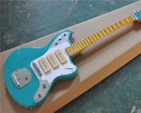 Wholesale blue white electric guitar resale online - 6 String Electric Guitar with Blue Color Body P90 Pickups White Pickguard Vintage Maple Fingerboard can be Customized