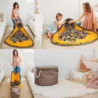 Wholesale rug bags resale online - Toy Storage Bags Round Play Mats Kids Drawstring Toy Storage Bag Portable Doll Bags Blanket Rug Toys Storage Container Christmas Gift YFA494
