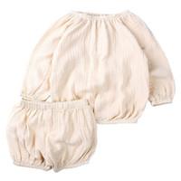 ingrosso pantaloni di lino per i bambini-2019 unisex bambini breve set estate bambino neonato ragazzo vestiti ragazze boutique abiti bambino manica lunga cotone camicie di lino bloomers abbigliamento