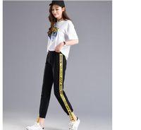 outono moda feminina roupas coreanas venda por atacado-Moda-Outono Queda Carta Listra Calças Femininas M-2XL Solto Elástico Na Cintura Das Mulheres Calças de Verão Hip Hop Roupas Calças Coreano S18101605