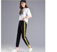 sonbahar giysileri hip hop toptan satış-Moda-Sonbahar Güz Mektup Yan şerit Pantolon Kadın M-2XL Gevşek Elastik Bel Kadın Pantolon Yaz Hip Hop Giysileri Kore Pantolon S18101605