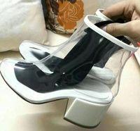 botas de vermelho azul branco venda por atacado-2019 Transparente Sapatos Mulher Dedo Do Pé Redondo Laranja Rosy Vermelho Azul Preto Branco Meias Botas de Salto Mulher Botas De Cristal Do Pvc Ankle Boots