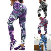 ingrosso pantaloni yoga rossi-Stampa Skull Sport Leggings per le donne Hip Lifting Flower Pattern Stretto Yoga Pants Rosso Viola blu Fitness Pant 19klD1