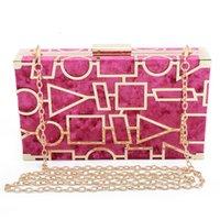 abend clutch taschen gold großhandel-Fashion Womens Evening Bags Luxus Clutch Purse Designer Umhängetasche mit Matel Strap Chain für Hochzeit und Party