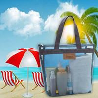 netzbeutelverpackung großhandel-Schwimmen Strandtaschen für Schuhe Lagerung Floral Mesh Tote Handtaschen Frauen Outdoor Badeanzug Sammeln Paket Bad Kulturbeutel MMA2320