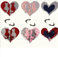 Wholesale clothe patches online - Sequins clothes Patch Heart shape Reversible Sequins Sew On Patch for clothes DIY Crafts Coat Sweater Bag Craft LJJK1155