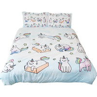 Wholesale boys bedding sets full for sale - Group buy 3 Pieces Girls Boys Star Duvet Set Cat Twin Bedding Sets With Pillowshams Galaxy Duvet Cover Queen Child Bedding Sets x225CM
