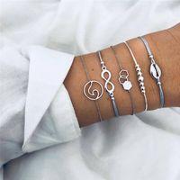 ingrosso fascino di infinità di fascino-Nuova catena di corda di cuoio Infinity Shell Geometric Weave Charms Set di bracciali per le donne Apri regolabile Bracciale cavigliera 5 Pz / set HZ