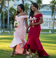 Wholesale african bridesmaids for sale - 2019 Cheap Mermaid Bridesmaid Dresses African Off the Shoulder Long Vintage Wedding Guest Gowns Lace Custom Made Arabic Maid Of Honor Dress