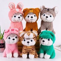 oyuncak köpek köpekleri toptan satış-Karikatür Husky Peluş Köpek Büyük Oyuncak 25CM Huskie Köpek Doll Güzel Hayvan Çocuk Doğum Hediye Corgi Peluş Yastık ZZA1618