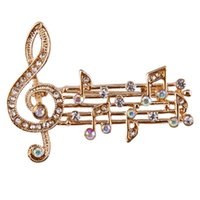 свадебные подарки оптовых-2018 New Arrival Trendy Rhinestone Shiny Music Notes Brooches  Wedding Party Brooches Clips Scarf Pins Up Party Gifts