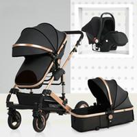 taşıma tekerlekleri toptan satış-Bebek arabası yüksek peyzaj oturup iki yönlü dört tekerlekli emici kış arabası arabası bebek arabası 3 in 1 katlayabilirsiniz