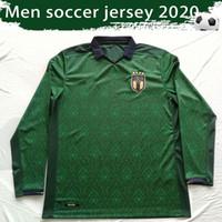 ingrosso il manicotto lungo jersey squadra di calcio-Long Sleeve Italia terza verde maglie calcio 2019/20 manicotto pieno nazionale italiana camice di calcio Uniformi CALCIO